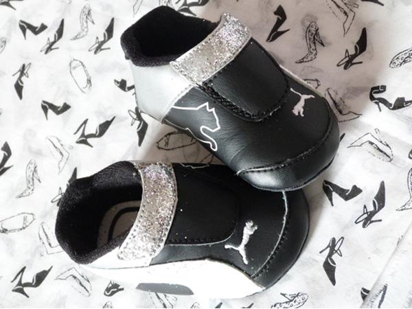 diy chaussure bébé paillettes